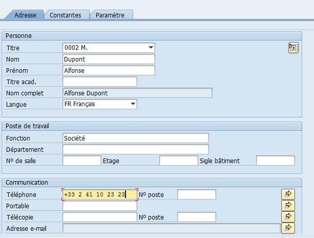 Coordonées utilisateurs SAP