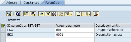 ID paramètre SAP