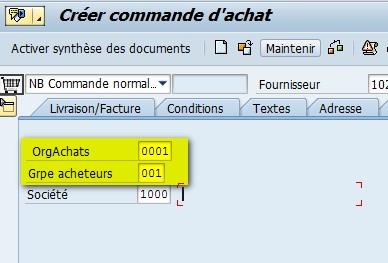 paramètre ID Transaction ME21N
