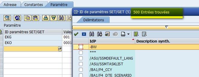 Liste paramètres ID SAP