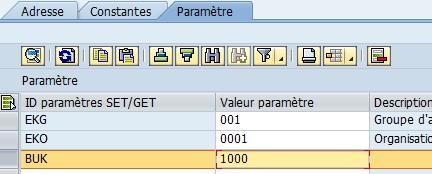 Transaction SU3 - ajout paramètre
