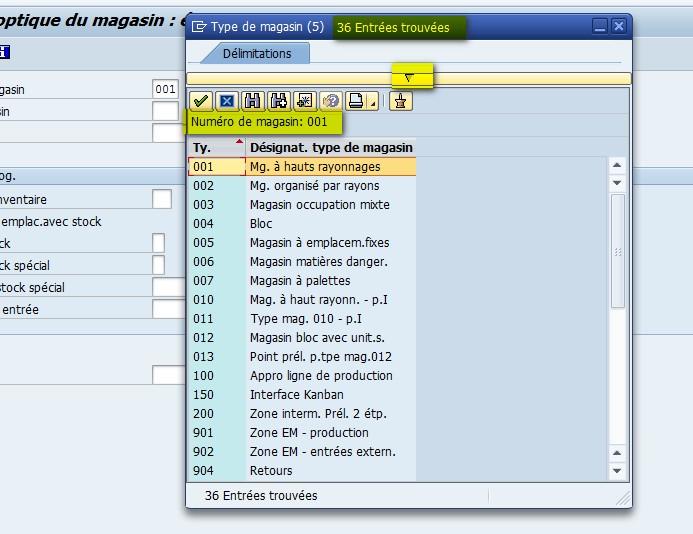 Fenêtre aide à la recherche SAP