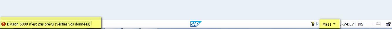 Navigation SAP; message d'erreur