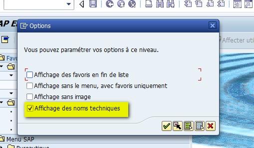 Affciher code transaction menu SAP