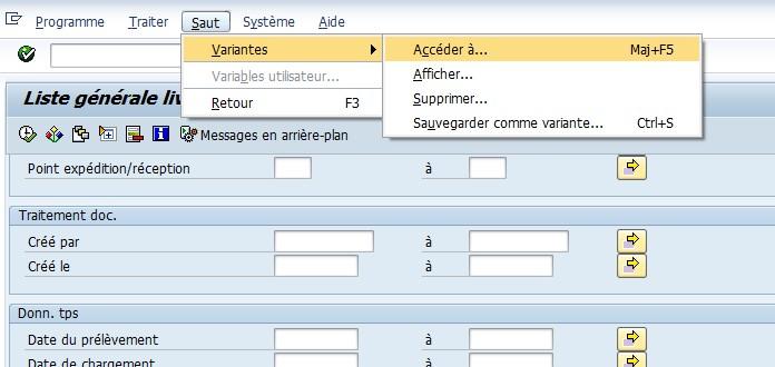 SAP créer variante de sélection