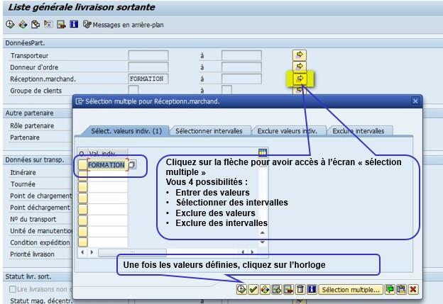 SAP variante de sélection création