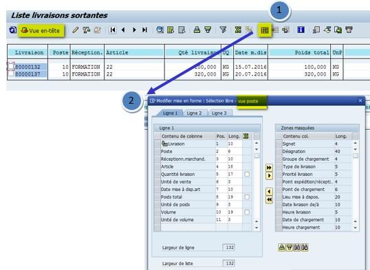 SAP reporting logistique livraison