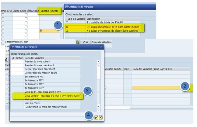 SAP Type de variante D calcul Dynamique