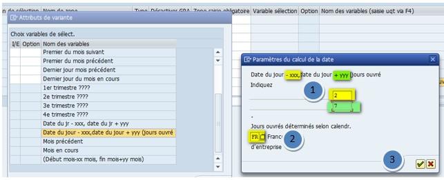 SAP paramètres calcul date