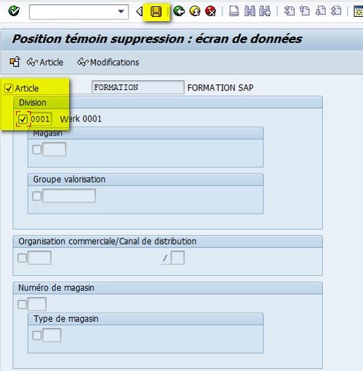 SAP MM06 suppression fiche article