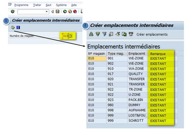 SAP WM création emplacements intermédiaires en masse