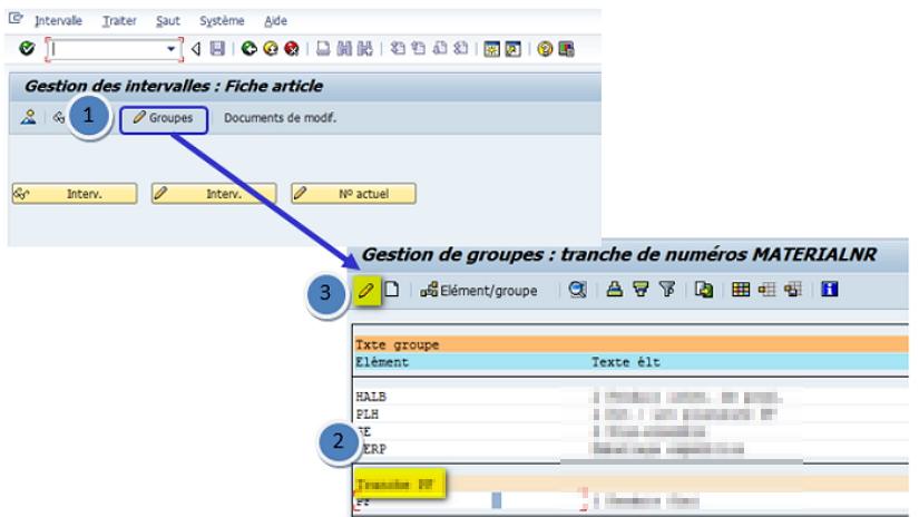 SAP Tranche numéro fiche article