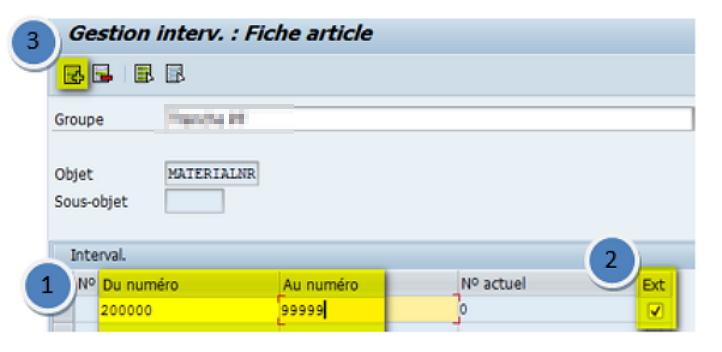 SAP création tranche numéro
