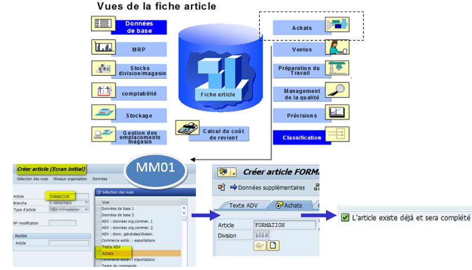 Transaction MM01 pour créer une fiche article SAP