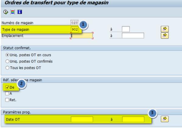 Transaction WM LT22 critère type de magasin