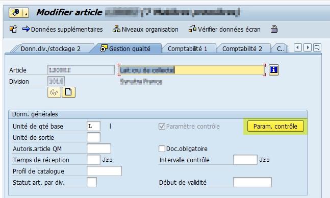 SAP Fiche article vue QM