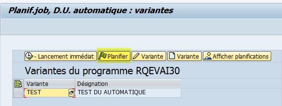 SAP QA17 création job