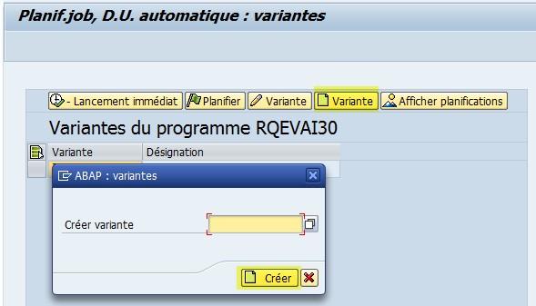 SAP QA17 Création variante