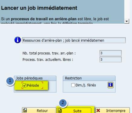 Sap Job planification fréquence