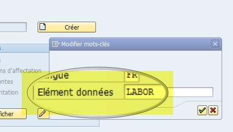 comment modifier la designation d'une zone dans SAP ?