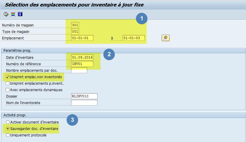Inventaire en masse dans SAP