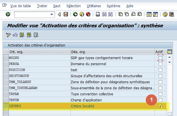 SAP - Activer Critères d'organisation