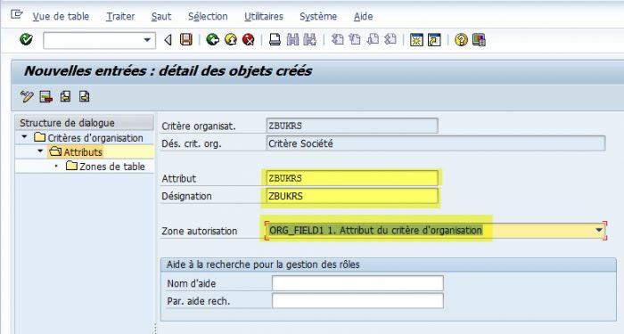 SAP - Gestion des attributs de critères d'organisation