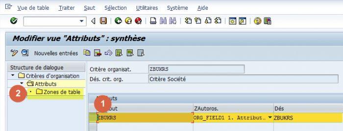 SAP - Gestion des attributs de critère d'organisation
