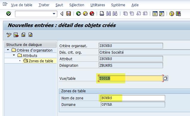 SAP - Gestion des critères d'organisation