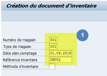 Comment créer un document d'inventaire dans SAP