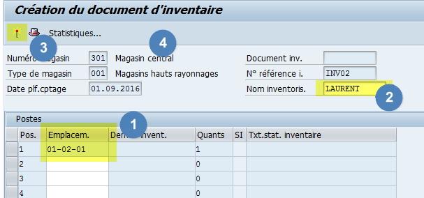 Saisir un emplacement dans un document d'inventaire