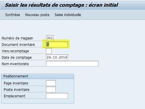 Comptage inventaire WM dans SAP
