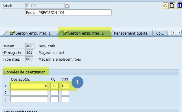 Vue Gestion des emplacements 2 WM Article SAP