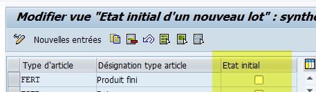 Activation etat du lot SAP