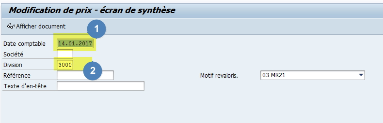 MR21 - Modifier prix article SAP