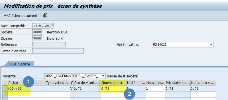 Modifier prix transaction MR21 SAP