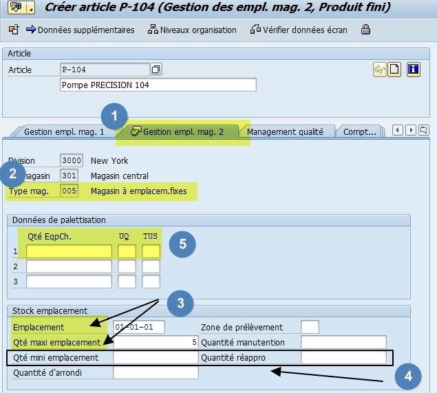 Vue Gestion des emplacement 2 Fiche article SAP