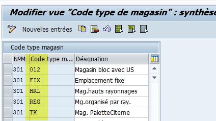 Code type de magasin paramétrage