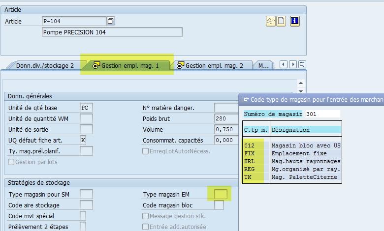 Fiche article SAP Code type de magasin