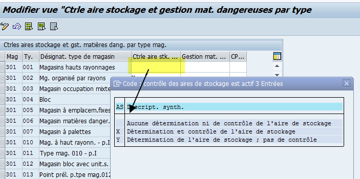 Controle aire de stockage module WM SAP