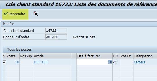 Dupliqer poste commande vene SAP