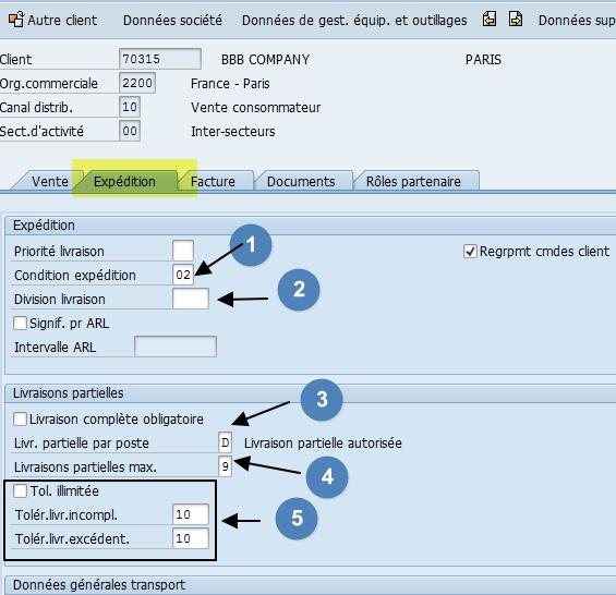 comment renseigner l'onglet expédition de la fiche client dans SAP ?