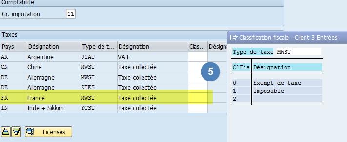 Gestion taxe fiche client SAP