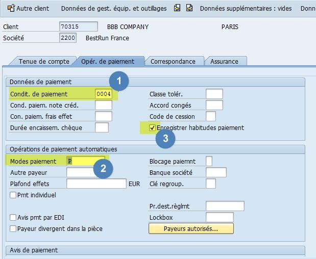 Mode de paiement SAP Fiche client