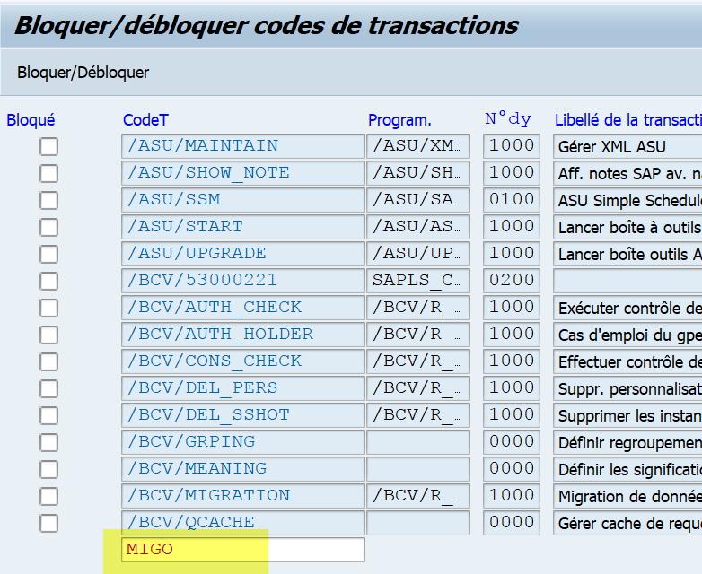tutoriel SAP transaction SM01