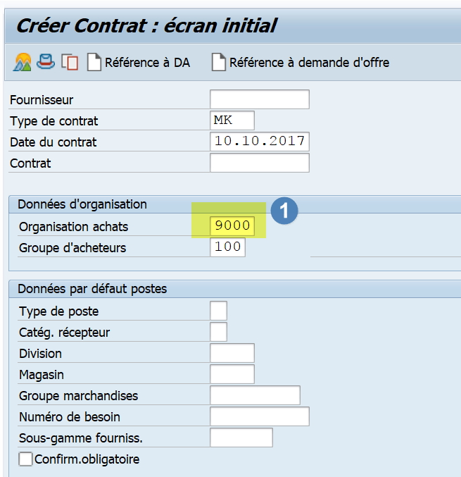 comment créer un contrat d'achat SAP