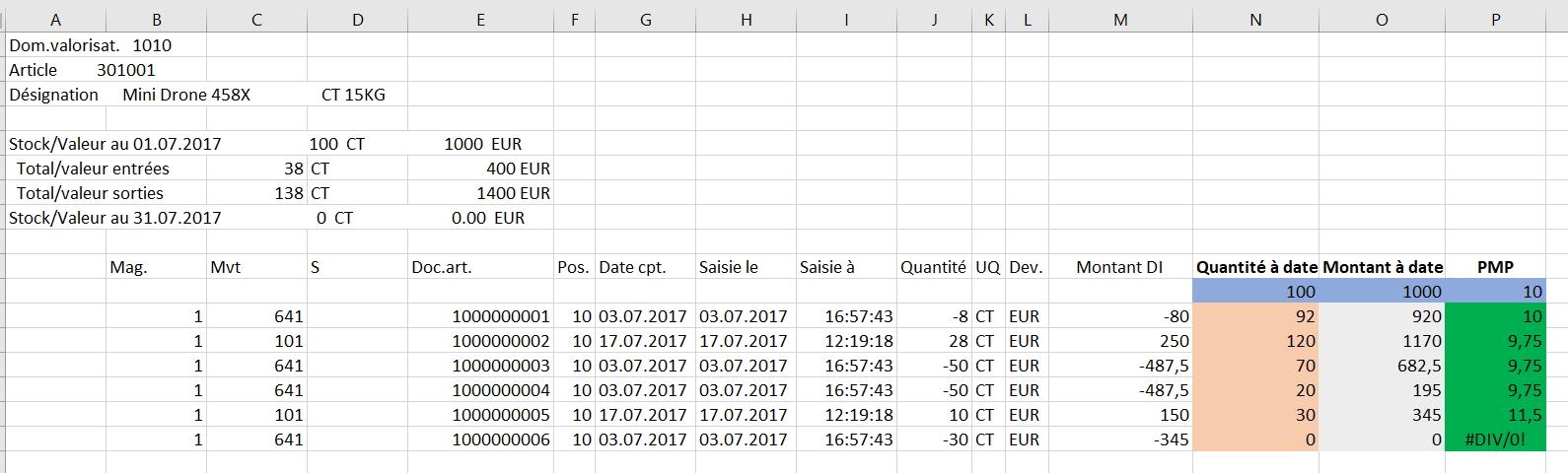 Excel PMP SAP