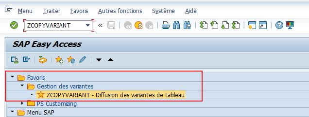 212dc2fe37ae4b La fonctionnalité du programme est désormais disponible en lançant la  transaction spécifique depuis le menu fonctionnel.