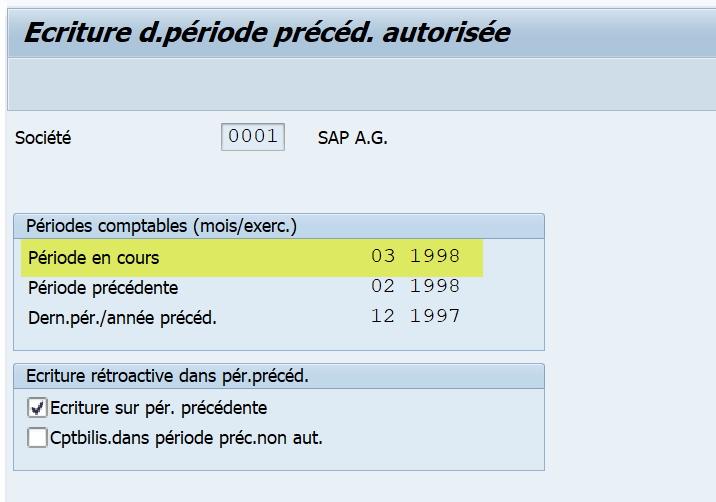 SAP période comptable
