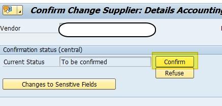 Confirmation données sensibles fournisseur SAP
